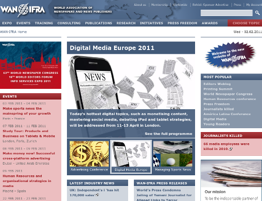 Screenshot der Website der WAN-IFRA